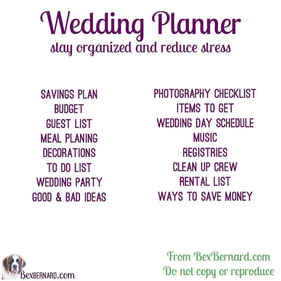 Wedding Planner Digital Excel File To Customize And Update