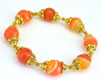 Orange boho stretchy bracelet