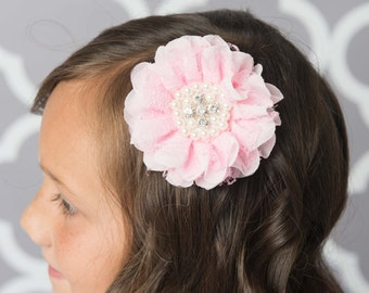 Light Pink flower clip, pearl hair clip, lace hair clip, pink hair accessory, pink wedding flower girl birthday gift, chiffon flower clip