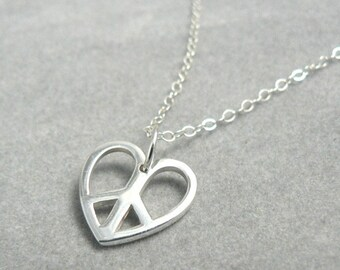 Peace Sterling Heart Peace Symbol Necklace Charm Jewelry