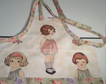 Ladyinstitches, child's crayon apron, child's apron, doll theme apron, child's full apron, girl's apron, child's craft apron