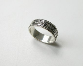 Women's silver ring, vintage silver ring, silver ring for women, flowers ring, silver ring, sterling silver ring, silver ring band