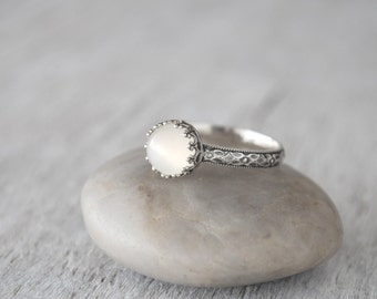 Moonstone Ring in Sterling Silver -  Moonstone Gemstone Ring with Crown Bezel - Handcrafted Artisan Silver Ring