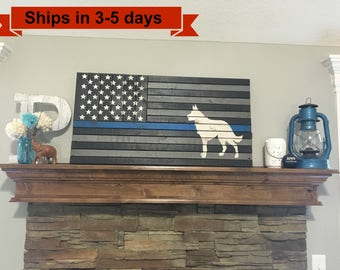 "36""x 19"" K-9 Thin Blue Rustic Flag"