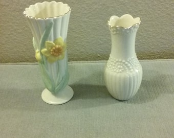 Pair Of Genuine Lennox Small Ceramic Bud Vases, Perfect Condition