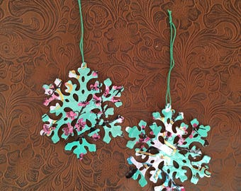Snowflake -Set of Two- using recycled Arizona Tea Aluminum Can - Soda Can Art