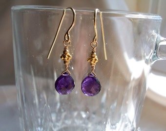 "Small amethyst heart briolette earrings 14k gold filled and vermeil 1 1/4"" total gemstone handmade item 150"