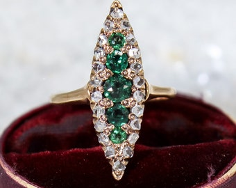 Antique Victorian 14K Gold Rose Cut Diamond & Green Paste Navette Ring 19th Century