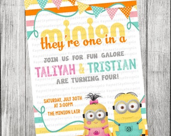 Invitation d'anniversaire Double Minion