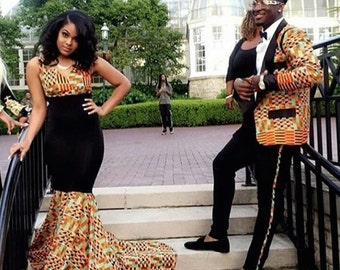 African Couples Outfit/Couples Prom Dress/ Couple's Engagement Outfits
