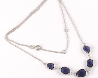 Iolite silver necklace 18 inch