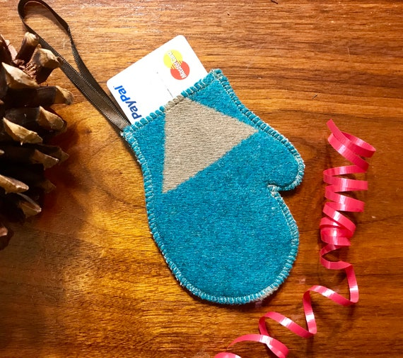 Mitten Christmas Ornament / Gift Tag / Gift Card Holder / Money Holder / Wool Blue & Gray