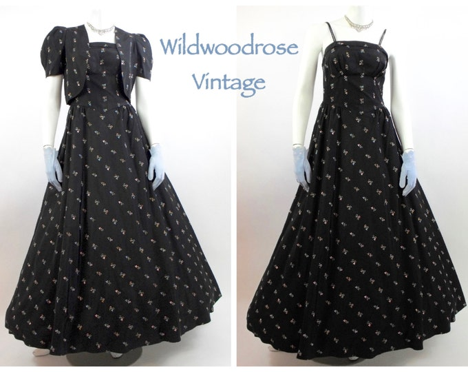 1950's Vintage Prom Gown - Black Embroidered Taffeta Gown with Matching Bolero - Full Skirt Long Evening Gown - Vintage Grad Dress - Size 4