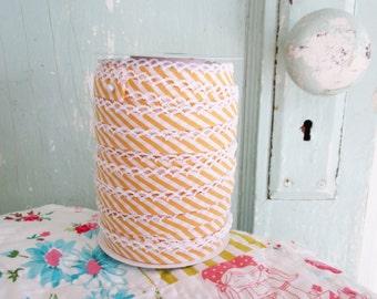 Yellow Stripe Double Fold Crochet Edge Bias Tape (No. 106).   Yellow Stripe Quilt Binding.   Stripe Bias Binding and Cothing Trim.