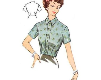 Plus Size (or any size) Vintage 1950s Blouse Pattern - PDF - Pattern No 106 Anna  50s  Fashion Sewing Instant Download