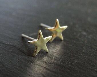 Tiny Star Earrings, Hammered Star Earrings, Golden Brass Star Studs, Star Celestial Jewelry, Unisex Gift, Hypoallergenic Sterling Silver