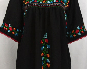 """Mexican Blouse Hand Embroidered Cinco de Mayo: """"La Marina"""" in Black with Fiesta Embroidery ~ Size MEDIUM"""