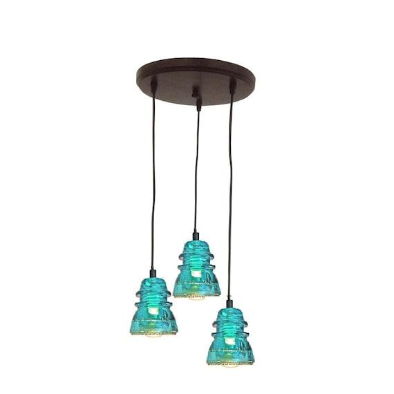 Lighting Rustic Chandelier VINTAGE 1920's-60's Repurposed Industrial Glass Insulator Pendant Light Round Pendant Lighting Kitchen Island