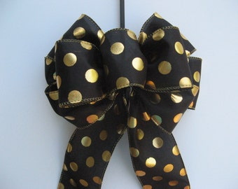 Wreath bow, Black satin / shiny gold polka dots bow, ready made bow, Halloween, fall or Holiday bow, everyday decor, gift or package bow