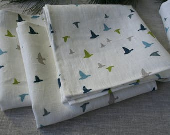 Birds linen napkins, set of 10. White linen napkins. Tea napkins.  White blue green gray birds napkins. Scandinavian fabric