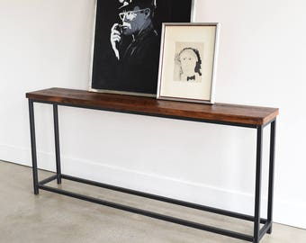 Box Frame Console Table / Industrial Sofa Table / Reclaimed Wood Entryway Table