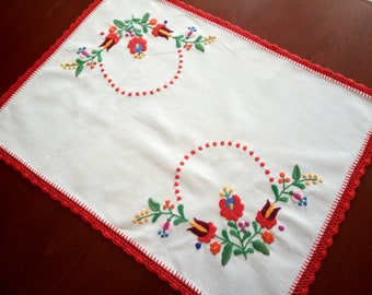 Hand-embroidered small tablecloth, table runner. Authentical Hungarian (Matyo) embroidery