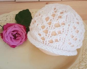 RTS, White lace baby girl Beanie, newborn prop hat, baby girl beanie, newborn photo prop, Newborn lacy hat, white beanie for baby girls