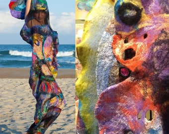 Hand Painted And Nuno Felted Butterfly Shawl Ready To Ship