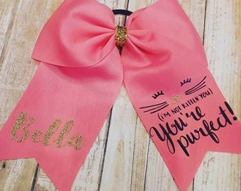 Girl Cheer Bow Cat - I'm Not Kidding You You're Purfect Personalized