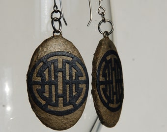 Brown Navy Hanji Paper Earrings Dangle Earrings Traditional Circle Design Hypoallergenic hooks Lightweight Paper Jewelry