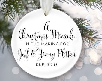 A Christmas Miracle in the Making Baby Announcement Expecting a baby Gender Reveal Pregnancy Ornament Adoption Gift OR151