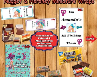 JoJo Siwa Birthday Hershey Nugget & Hershey Miniatures Wrap Labels/Sticker 1 sheet Personalized