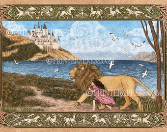 Aslan and Lucy : A Journey to Cair Paravel - Limited Edition Archival Quality Print - The Chronicles of Narnia - Lion Witch Wardrobe