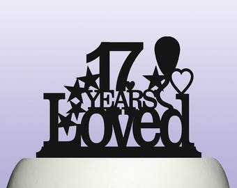 Acrylic 17th Birthday Years Loved Theme Cake Topper Decoration