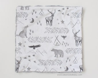 Woodland Lovey/ Woodland Security Blanket/ Woodland Baby Blanket / Faux Fur Baby Blanket / Grey Woodland Baby Blanket / Gray Baby Blanket