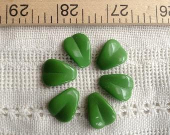 Vintage German Green Petal Beads - 5
