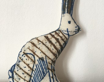 Hand printed decorative Hare