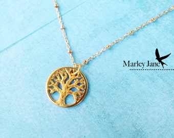 Gold Tree of Life Necklace Nature Sterling Silver Oak Tree Necklace