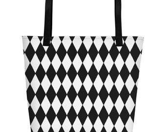 Black and White Harlequin Diamond Check Beach Tote Bag