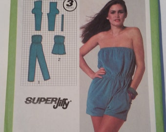 Vintage 1979 Simplicity 9925 sewing pattern misses' Super Jiffy (R) romper in two lengths in sizes 6, 8