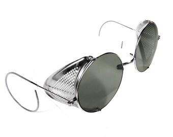 Steampunk Goggles SMOKE Tinted Steam Punk Willson Biker AVIATOR Vintage Glasses Metal Side Shields 1930s Burning Man Goggles - by edmdesigns