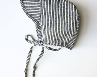 Cap Brimmed Striped linen baby bonnet handmade sizes up to 2 years