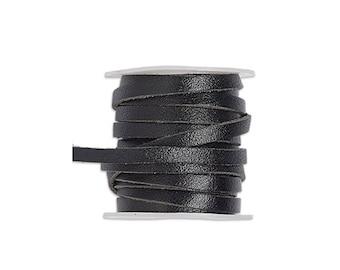 13/64 inch genuine flat leather cord, genuine flat leather cord 13/64 inch, genuine flat leather lace 5mm, 5mm lace leather flat cord.