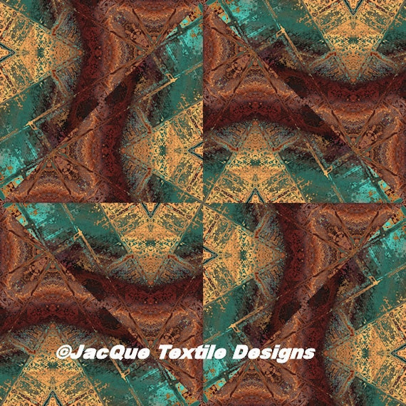 Triangles Handmade Brown Turquoise Velvet Upholstery Fabric Fiber Art Modern Fabric