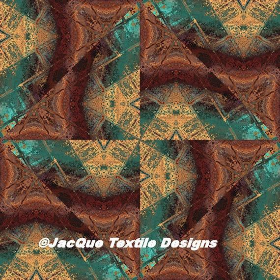 Triangles Handmade Brown Turquoise Velvet Upholstery Fabric Fiber Art Modern Fabric
