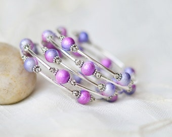 Gift for mom - Mothers day gift - Beaded wrap bracelet - Pink purple bracelet - Bracelet for women - Gift for her - Memory wire bracelet