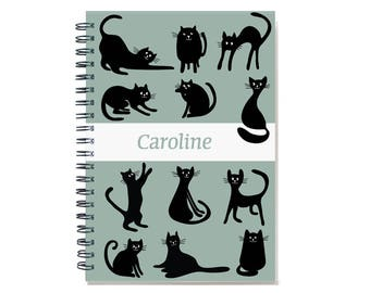 Personalized 2018 2 Year Month Calendar Notebook for Cat Lover, 2018-2019 Planner Journal, Cat Lover Gift, 12 or 24 month, SKU: pn cat