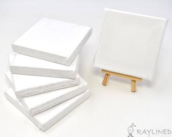 Set of 6pcs Mini Artist Blank Canvas Frame 4x4inch ( 10x10cm ) Oil Water Painting Board Flat Canvas with 1pc Mini Wood Display Easel