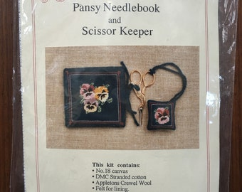 No longer available Needlepoint Kit Needleworks Sue Hawkins Pansy Needlebook and Pansy Scissor Keeper Counted Cross Stitch Pattern Chart