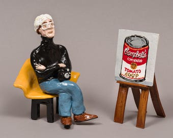 Ceramic, Hand built clay, Andy Warhol, viewing his soup can painting.